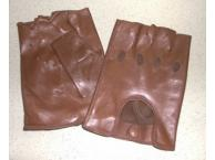 Gants en cuir mitaine racing marron