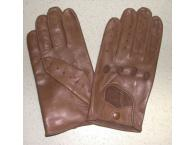 Gants en cuir racing marron